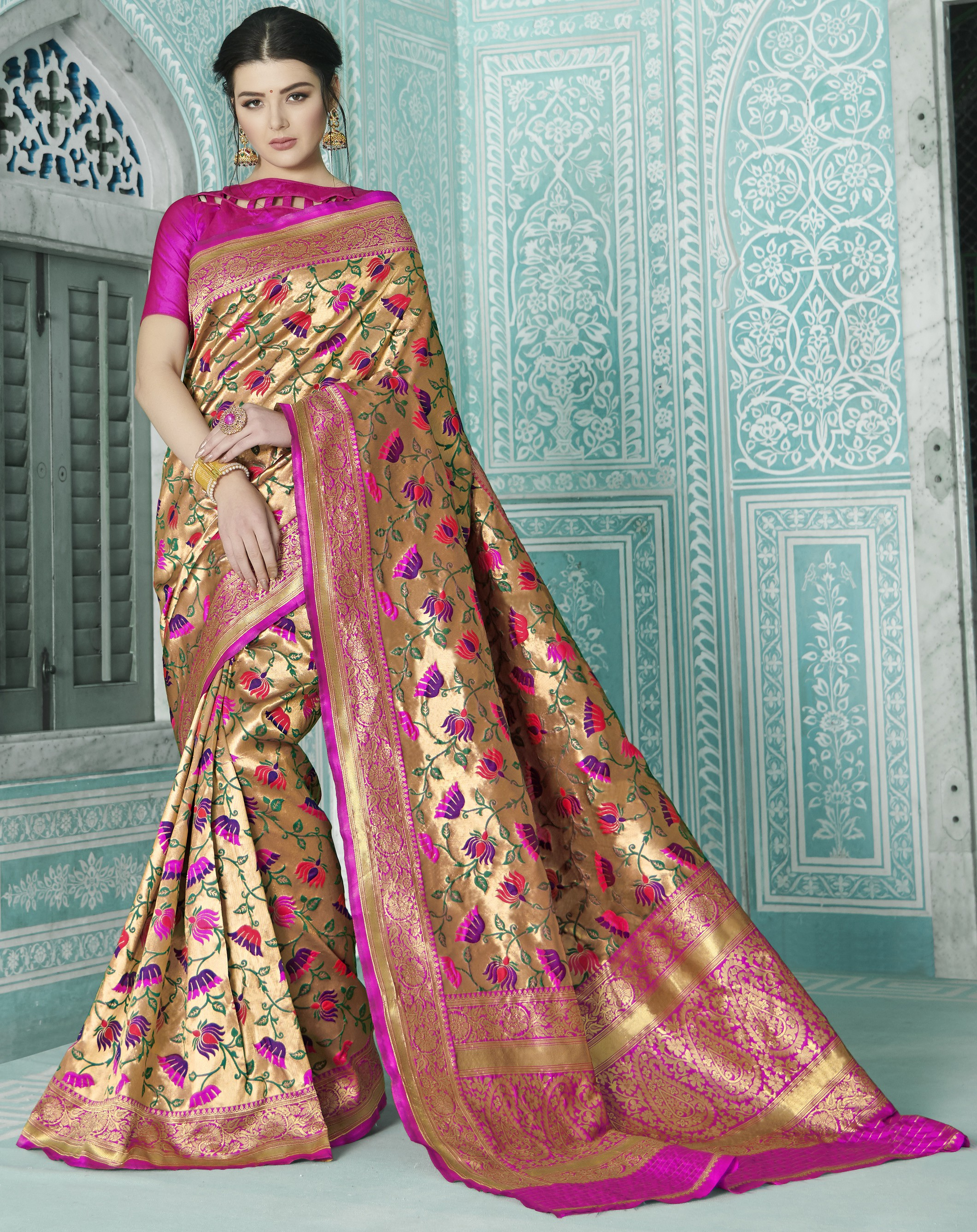 Buy Gold Silk Woven Paithani Saree With Unstitched Blouse Material Online Craftsvilla