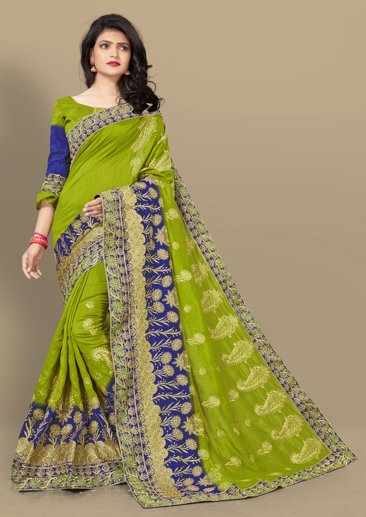 791e3c0db43783 Buy Craftsvilla Green Silk Blend Zari Work Designer Saree With Unstitched  Blouse Material Online