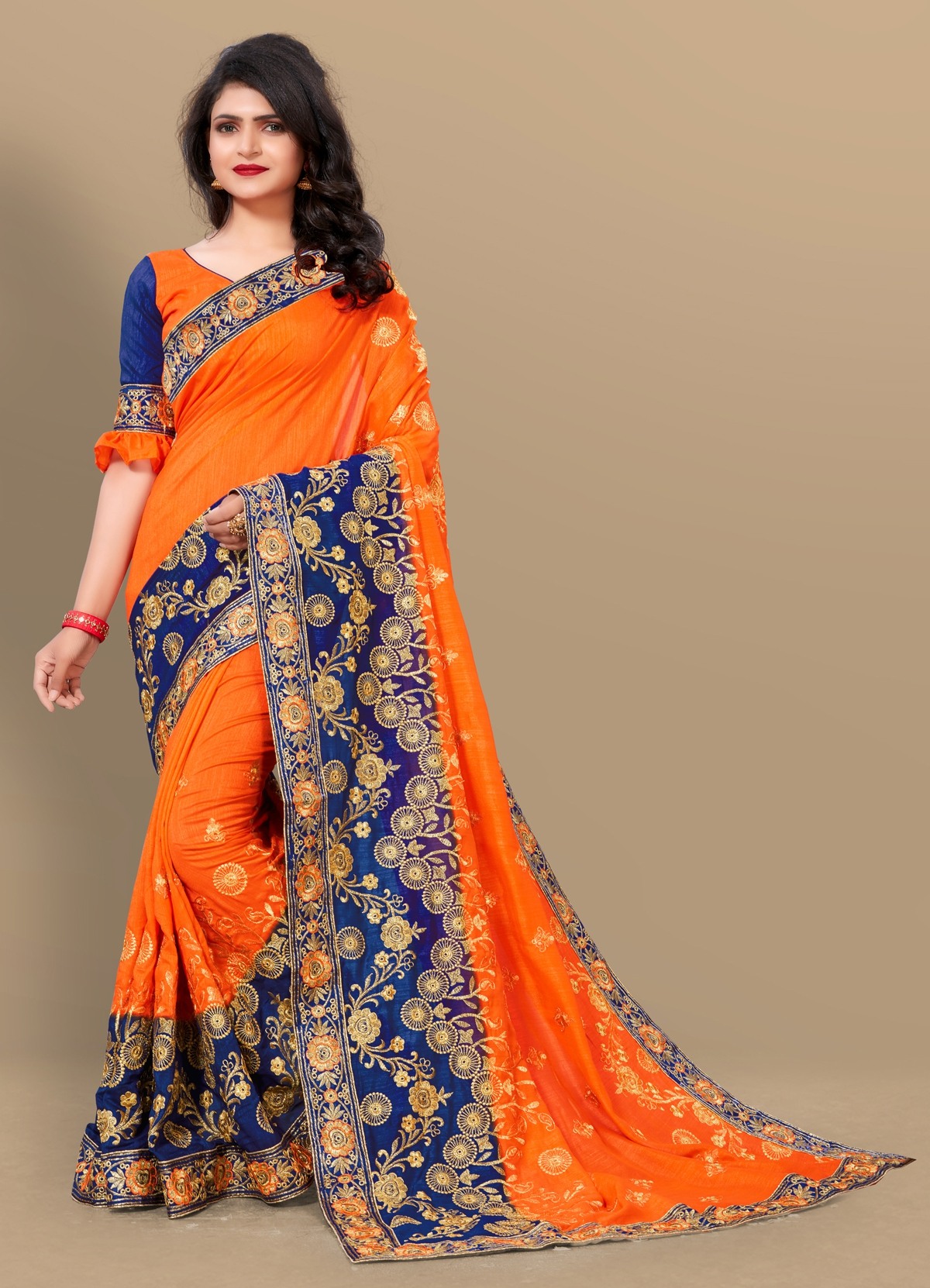 3f2d1dac460d2c Buy Craftsvilla Orange Silk Blend Zari Work Designer Saree With Unstitched  Blouse Material Online