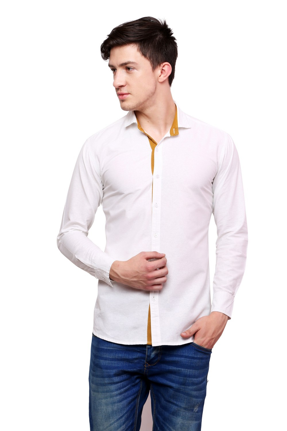 a2d0a2b66b Buy Dennis Lingo Men\'s Solid Casual Full Sleeves Slim Fit White Cotton  Shirt-c101_1_xl Online | Craftsvilla