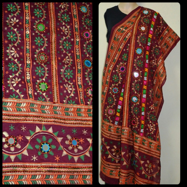 b2d10864dce4c Buy Maroon Kutch Embroidery Blouse With Mirror Work(hand Work) Online