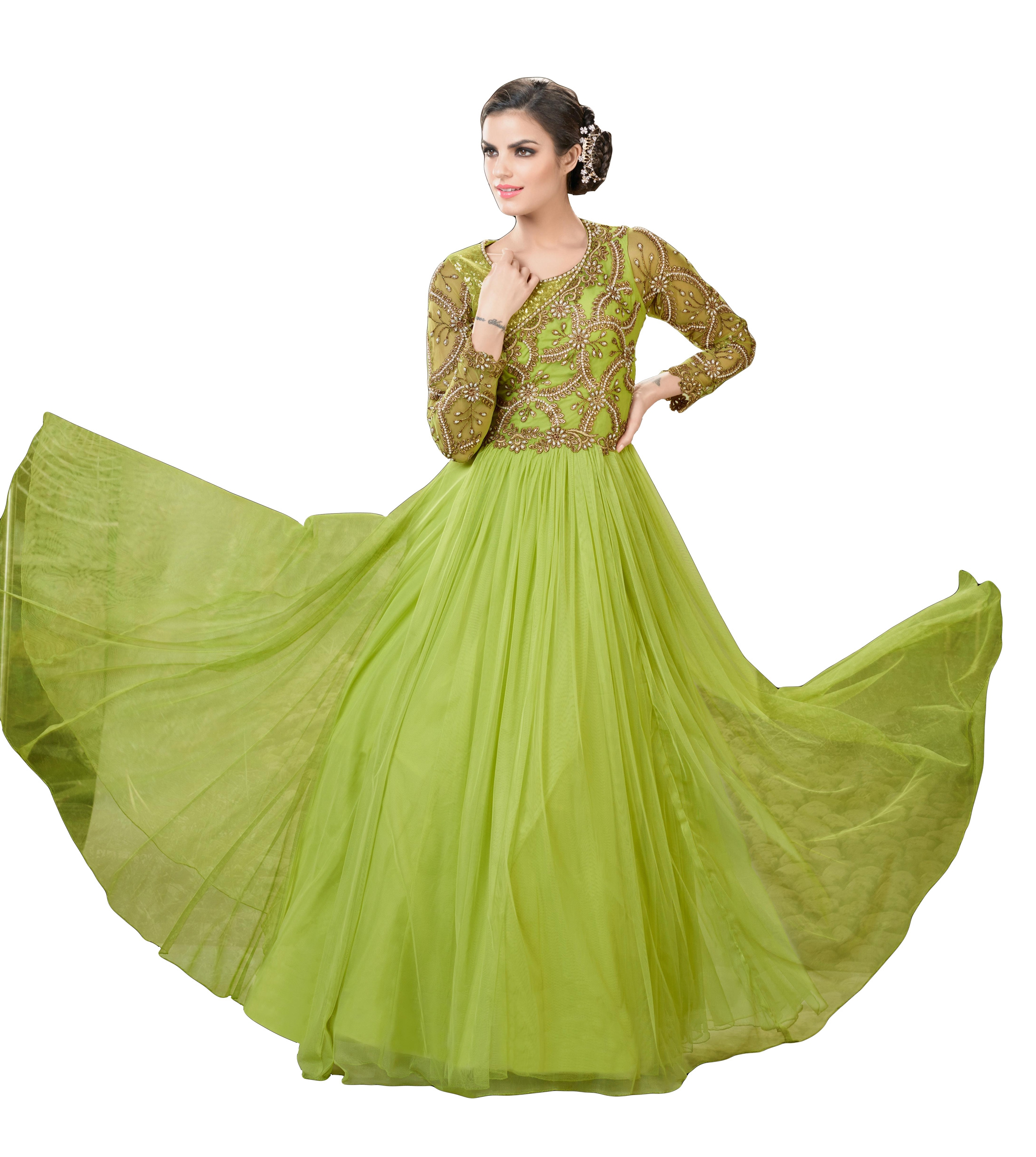 Buy Justkartit Women  s Olive Green Colour Soft Net Long Flair Stye Wedding  Wear Semi-stitched Gown (dress Material) Online  3c5d66350