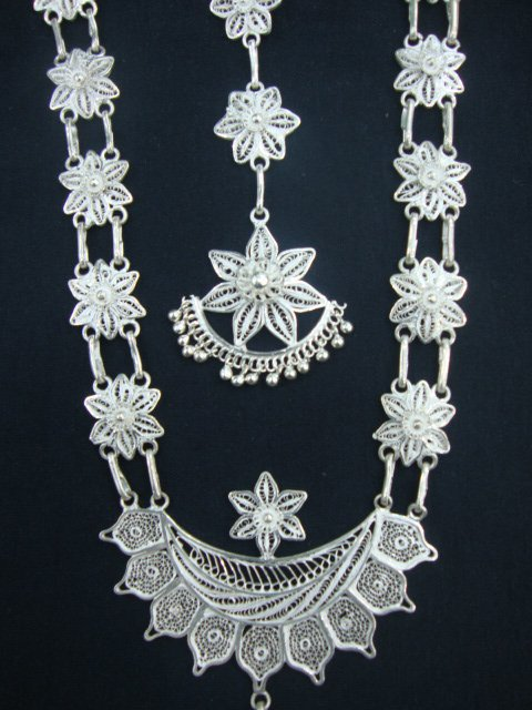 91f17c168 Buy Silver Filigree Odissi Dance Ornaments - Online Shopping For Necklaces  By Radha Jewellers Online