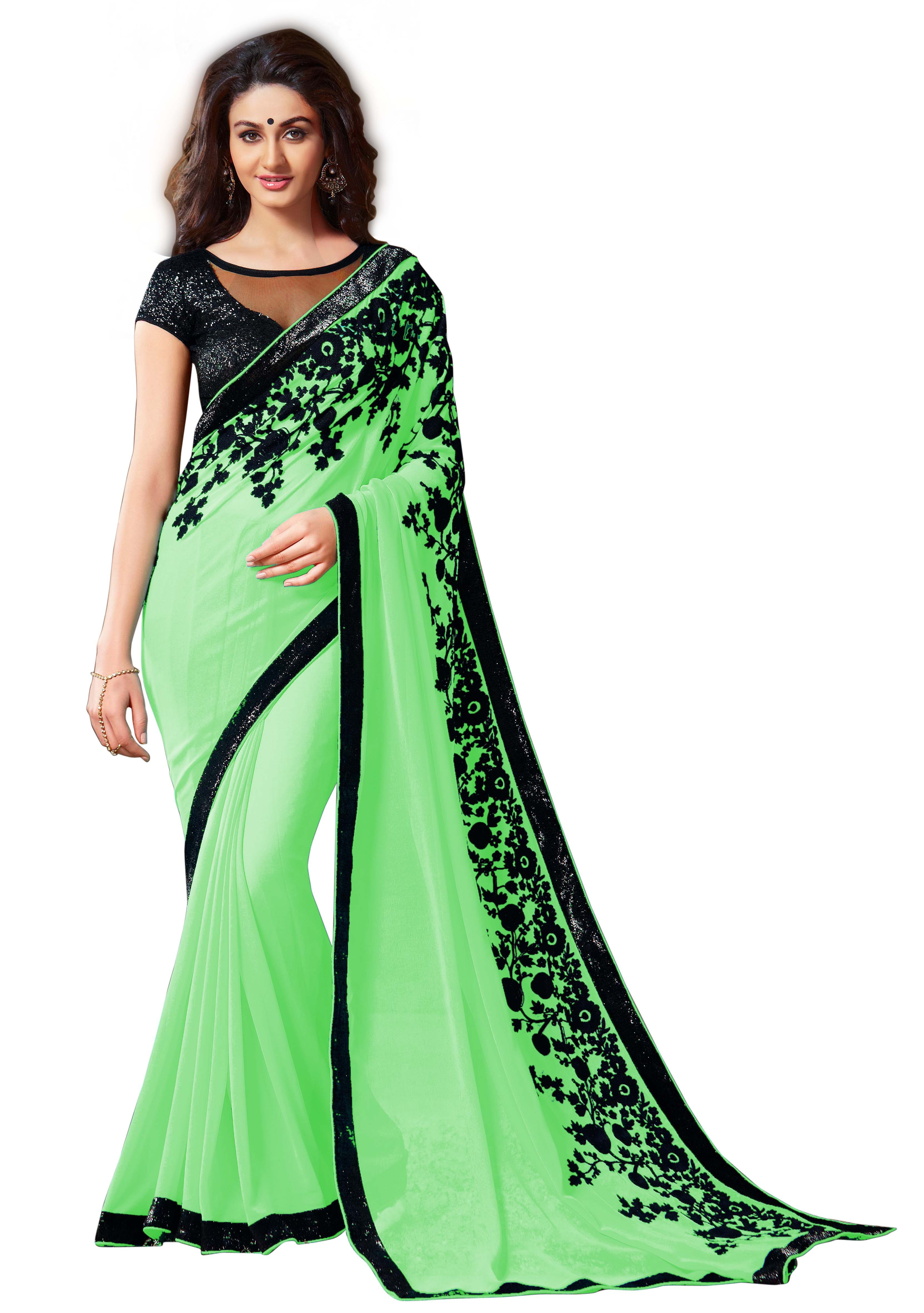 802bc50790c98 Buy Shital Fashion World Parrot Green Embroidery Aari Work Georgette Saree  Online