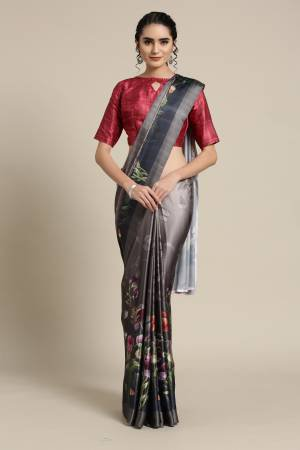 Grey Satin Saree ...