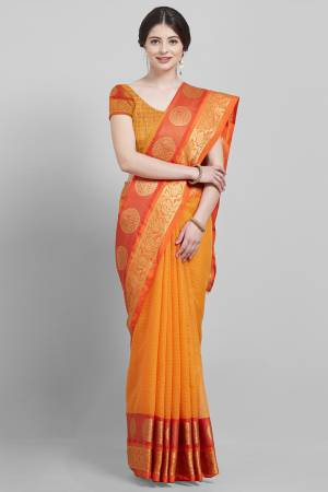Orange Art Silk ...