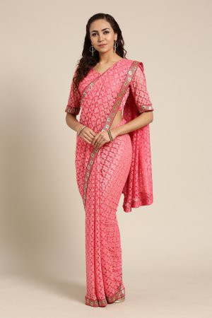 Pink Net Saree ...