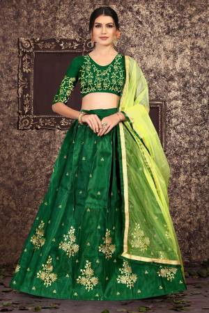 Green Satin Silk ...