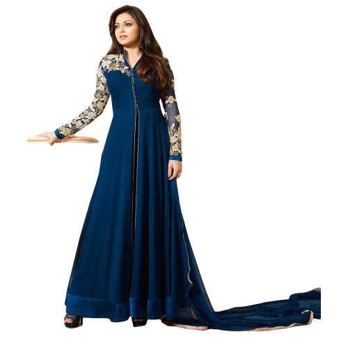 3c2250736f Justkartit Women\'s Semi-stitched Georgette With Beautiful Thread Embroidery  Long Ankle Length Anarkali Style Dress Material (with From Slit) /  Georgette ...