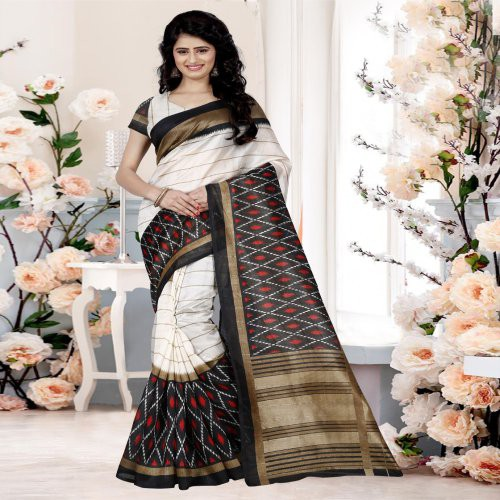 aeea09d28 Buy Craftsvilla Daily Wear Black Bhagalpuri Silk Striped Saree With ...
