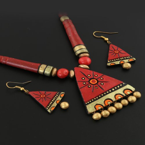 be6ee0f0a Buy Anuradha Art Golden-red Colour Triangular Shape Stylish Designer  Traditional Terracotta Necklace Set For Women girls Online