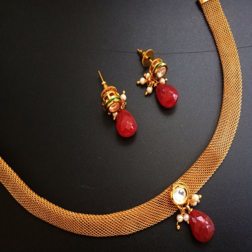 3238f8bfefd Buy Traditional Gold Plated   White Stone Choker Necklace For Women  Jewellery Online