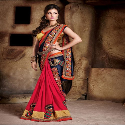 68ce3e2d37017 Buy Georgette Embroidery Bollywood Designer Party Wear Saree With Blouse  Online