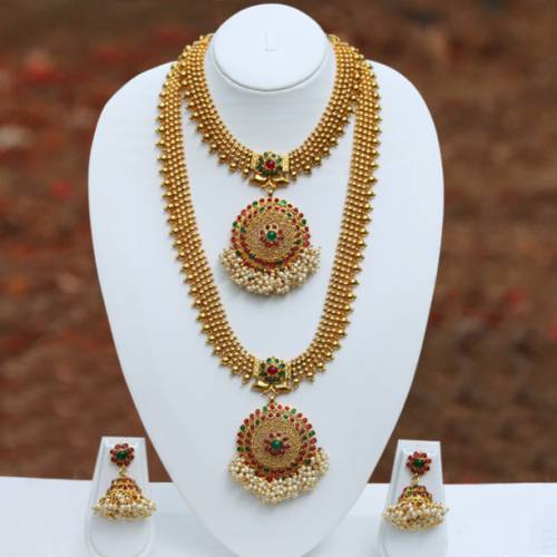 Craftsvilla Awesome Green Maroon Colour Haram Necklace Set With Earring