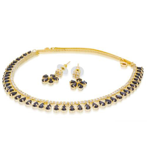 Craftsvilla  Gold Plated Austrian Diamond And Stone Black Charming Necklace Set