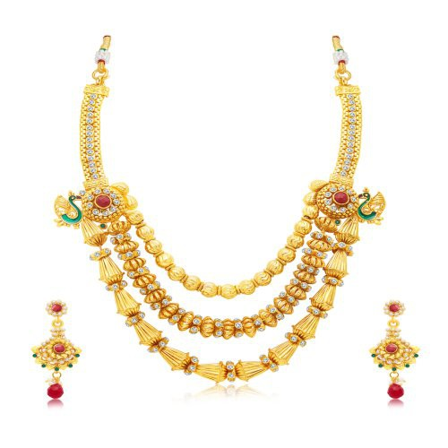 Craftsvilla Elegant 3 String Peacock Gold Plated Long Haram Necklace Set