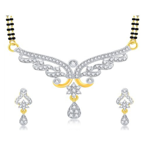 Craftsvilla Fancy Gold Plated Cz Mangalsutra Set