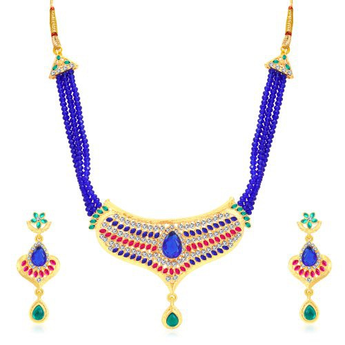 Craftsvilla Charming Gold Plated Ad Collar Necklace Set