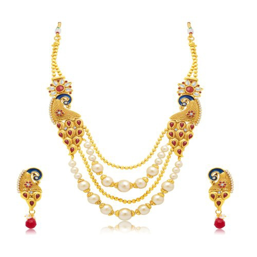 Craftsvilla Marquise Peacock 4 String Gold Plated Long Haram Necklace Set