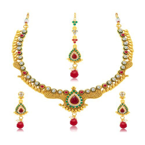 Craftsvilla Intricately Crafted Gold Plated Choker Necklace Set For Women