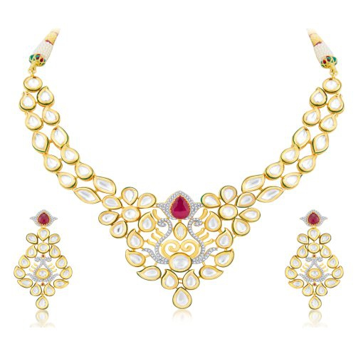 Craftsvilla Traditionally Fusion Gold Plated Cz Necklace Set