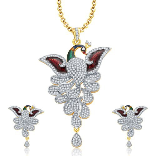 Craftsvilla Eminent Peacock Gold And Rhodium Plated Cz Pendant Set  - Pendants By Craftsvillafashion