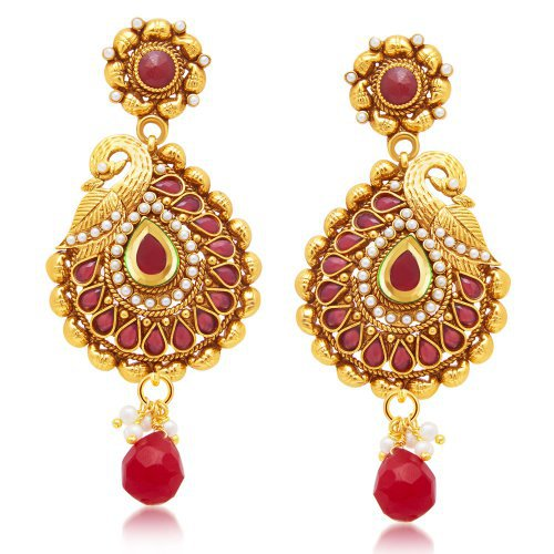 Craftsvilla Glistening Peacock Gold Plated Dangle Earring