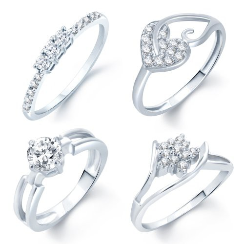 Craftsvilla Incredible Rhodium Plated Set Of 4 Cz Ring Combo