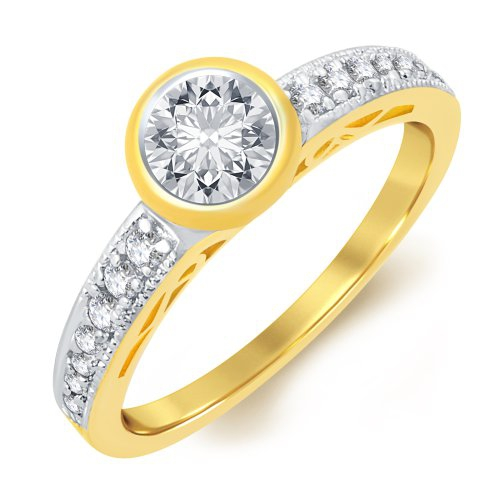 Craftsvilla Cluster Gold Plated Solitaire Ring