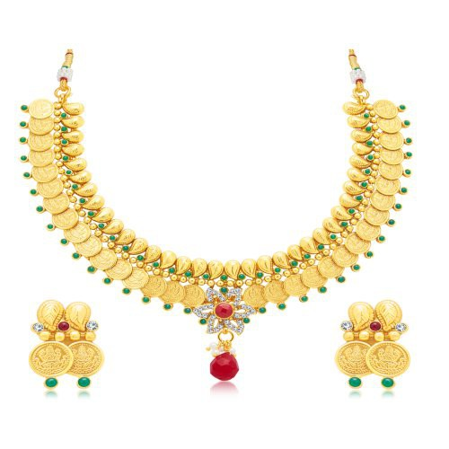 Craftsvilla Fascinating Laxmi Coin Gold Plated Traditional Necklace Set For Women