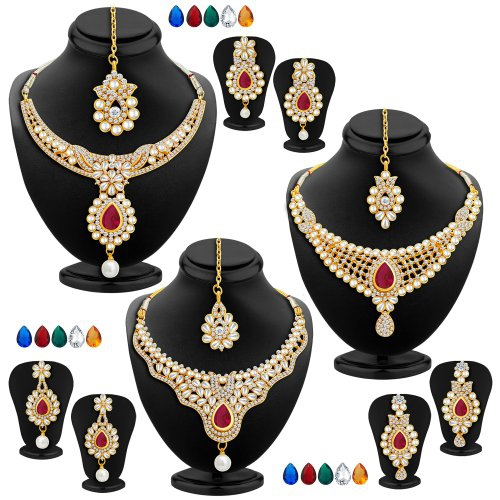 Craftsvilla Amazing Gold Plated Ad Set Of 3 Necklace Set With Set Of 15 Changeable Stone Combo