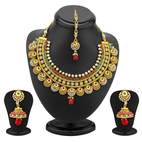 Craftsvilla Jodha Akbar Gold Plated Antique Necklace Set - Necklaces By Craftsvillafashion