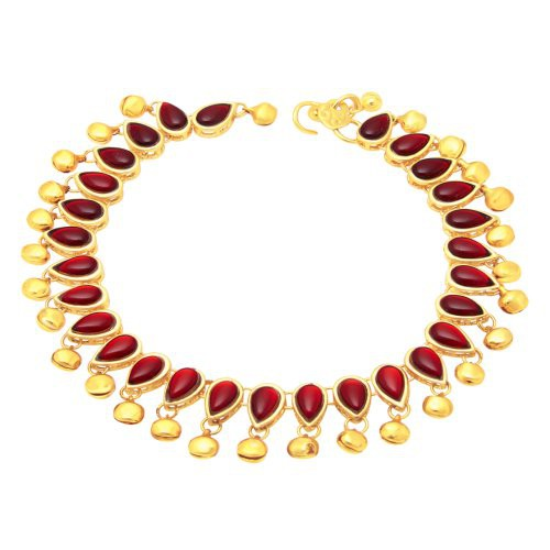 Craftsvilla Beguiling Gold Plated Red Studded Stone Anklet