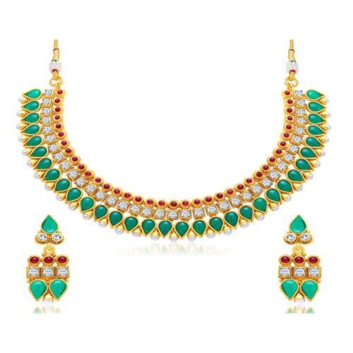 Craftsvilla Glimmery Gold Plated Choker Necklace Set For Women