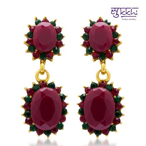 Craftsvilla Gracefull Maroon And Green Colour Stone Studded Earrings - Earrings By Craftsvillafashion