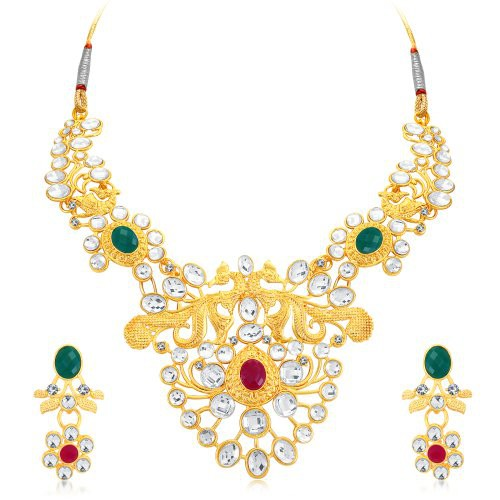 Craftsvilla Astonish Peacock Gold Plated Ad Collar Necklace Set