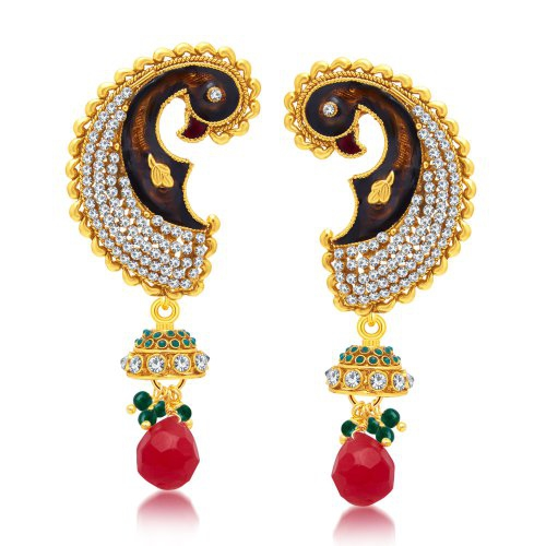 Craftsvilla Angelic Peacock Gold Plated Dangle Earring