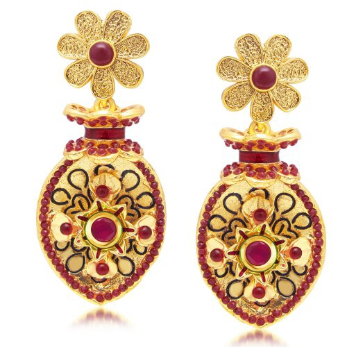 Craftsvilla Marvellous Gold Plated Maroon Studded Dangle Stone Earring For Women