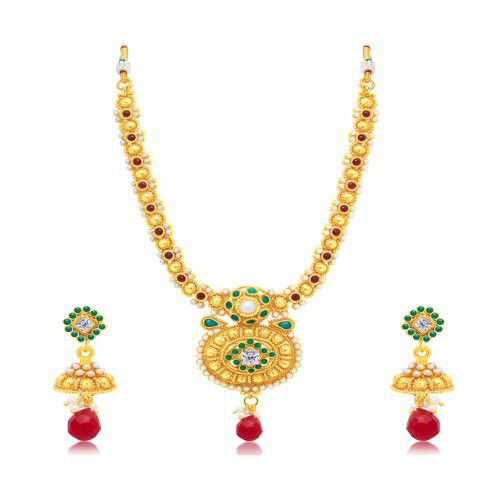 Craftsvilla Gleaming Gold Plated Choker Necklace Set For Women