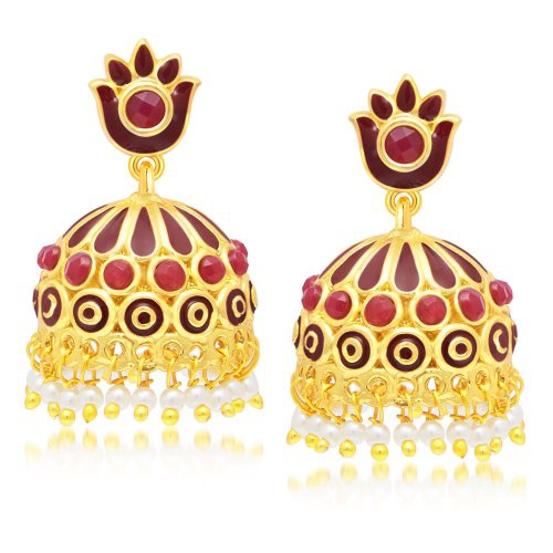 Craftsvilla Youthful Gold Plated Maroon Studded Jhumki Stone Earring For Women