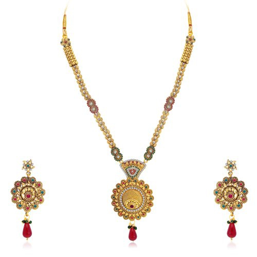 Craftsvilla Exquisite Gold Plated Ad Long Haram Necklace Set