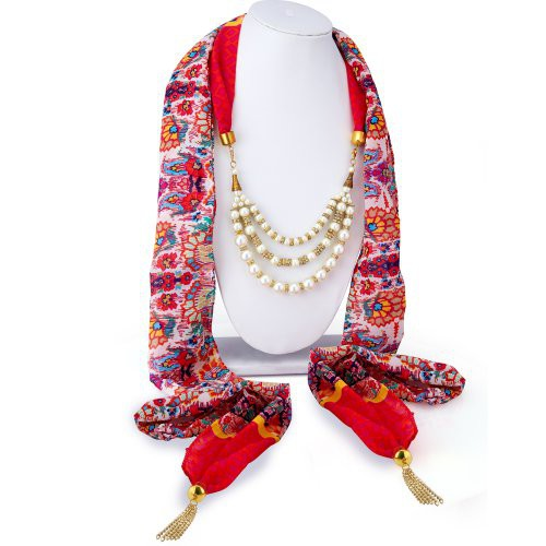 Craftsvilla Splendid Chiffon Detachable Scarf Necklace With Chain