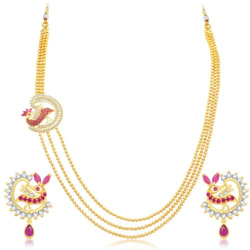 Craftsvilla Divine 3 String Peacock Gold Plated Cz Necklace Set For Women