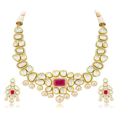 Craftsvilla Luxurious Fusion Gold Plated Cz Necklace Set
