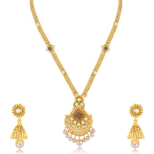 Craftsvilla Brilliant Gold Plated Long Haram Necklace Set For Women