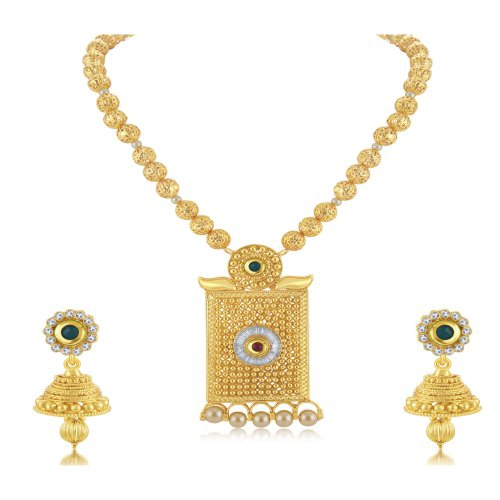 Craftsvilla Dazzling Gold Plated Long Haram Necklace Set For Women
