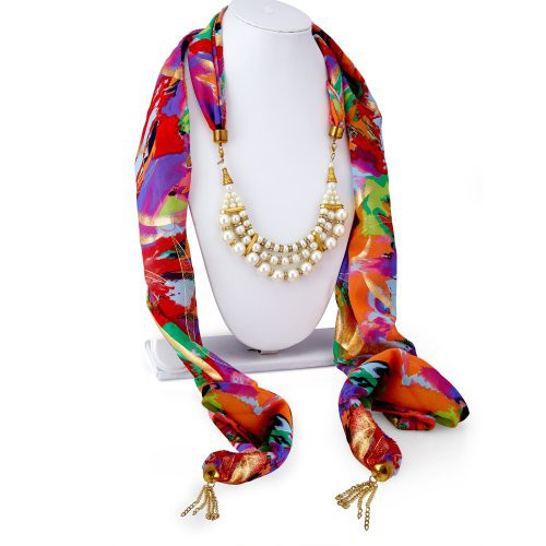Craftsvilla Eye-catchy Chiffon Detachable Scarf Necklace With Chain