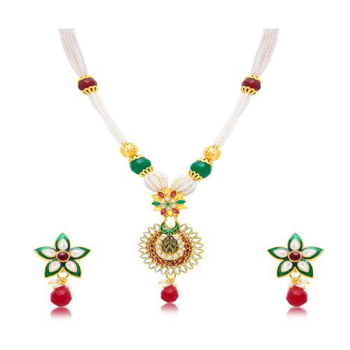 Craftsvilla Enchanting Gold Plated Long Haram Necklace Set