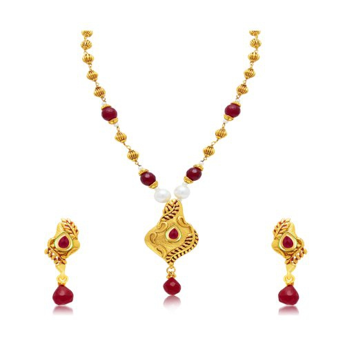 Craftsvilla Glimmery Gold Plated Long Haram Necklace Set