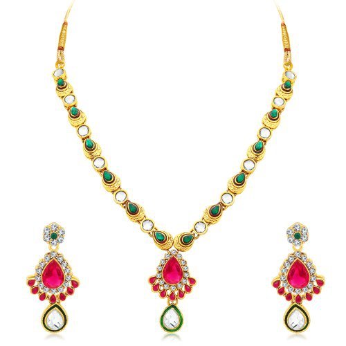 Craftsvilla Excellent Gold Plated Ad Collar Necklace Set